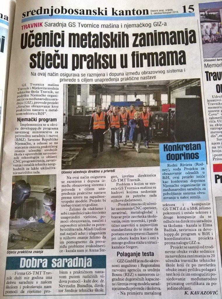 Dnevni avaz: Stručno obrazovanje kroz praktičnu nastavu u metalskom sektoru u Bosni i Hercegovini 1